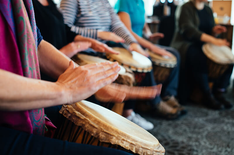 music therapy retreat drumming workshop